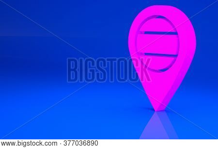 Pink Location Russia Icon Isolated On Blue Background. Navigation, Pointer, Location, Map, Gps, Dire