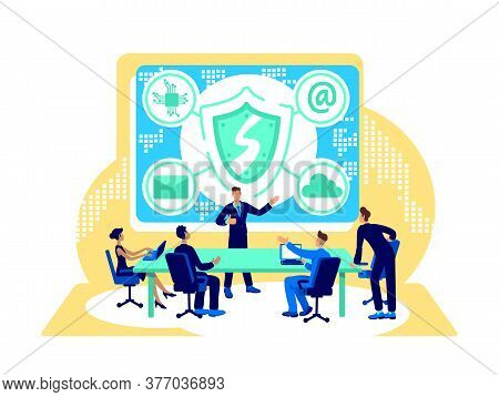 Cyber Security Flat Concept Vector Illustration. Private Data Protection. Firewall For Online Safety