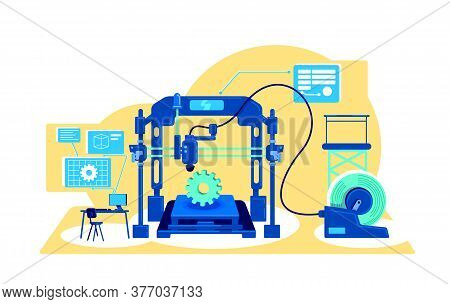 Automatization Of Production Flat Concept Vector Illustration. Analyze And Process Information. Digi
