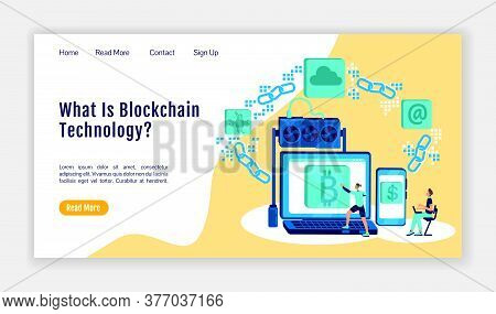 Blockchain Technology Landing Page Flat Color Vector Template. Cryptography Homepage Layout. Bitcoin
