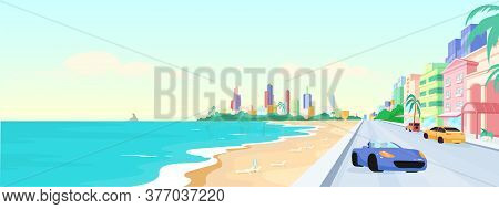 Miami Beach At Daytime Flat Color Vector Illustration. Summer Holiday In Florida. Seaside Urban Vaca