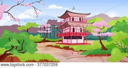 Japanese Pagoda And Fuji Mount Flat Color Vector Illustration. Traditional, Ancient Temples In Japan