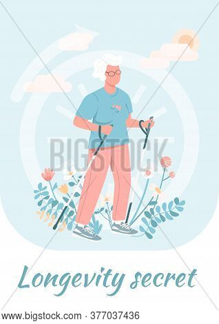 Longevity Secret Poster Flat Vector Template. Elderly Woman Exercise For Wellbeing. Brochure, Bookle