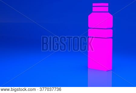 Pink Fitness Shaker Icon Isolated On Blue Background. Sports Shaker Bottle With Lid For Water And Pr