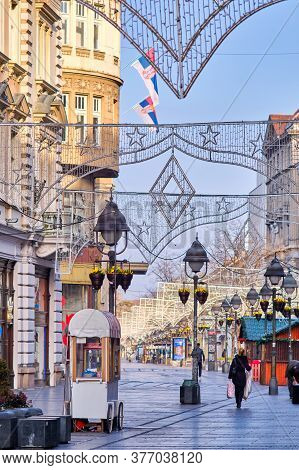 Belgrade / Serbia - February 15, 2020: Knez Mihailova Street, The Main Pedestrian And Shopping Zone