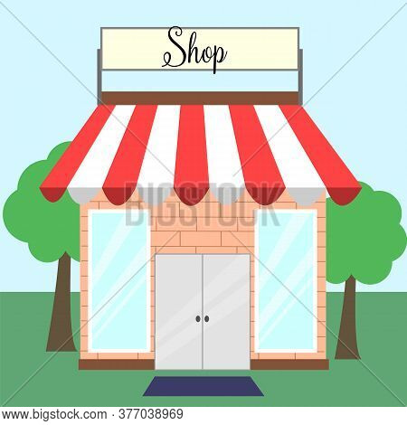 Shop Building Icon. Storefront Vector Illustration In Flat Style. Online Shop. Store Building Cartoo