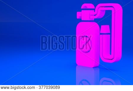 Pink Pressure Sprayer For Extermination Of Insects Icon Isolated On Blue Background. Pest Control Se