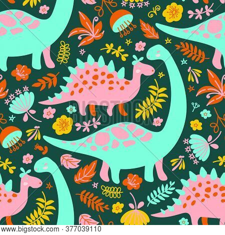 Dino Collage Grunge Prehistoric Cartoon Animals Seamless Pattern Vector Illustration For Fabric And