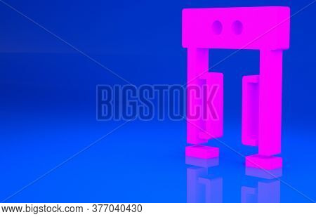 Pink Metal Detector Icon Isolated On Blue Background. Airport Security Guard On Metal Detector Check