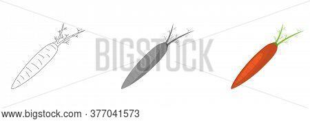 Veg Icon Illustration. Carrot, Vegetable, Food Vector Flat Style