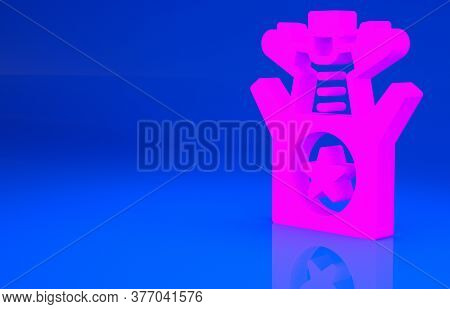 Pink Jack In The Box Toy Icon Isolated On Blue Background. Jester Out Of The Box. Minimalism Concept