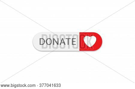 Voluntary And Donation Concept. Donate Button Icon. White Button With White Heart Symbol Isolated