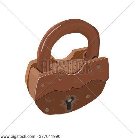 Lock Isolated On White Background. Old Closed Metal Padlock. Vintage Rusty Padlock. Steel Lock For P