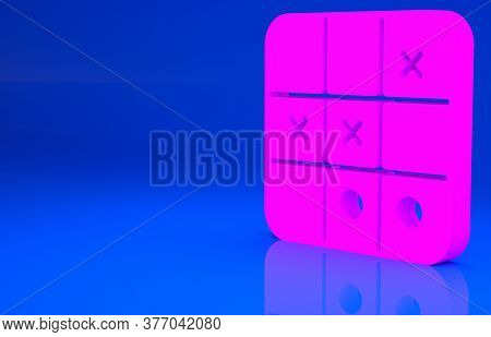 Pink Tic Tac Toe Game Icon Isolated On Blue Background. Minimalism Concept. 3d Illustration. 3d Rend