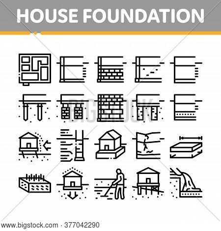 House Foundation Base Collection Icons Set Vector. Concrete And Brick Building Foundation, Broken An