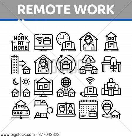 Remote Work Freelance Collection Icons Set Vector. Work At Home, Internet Job And Online Consultatio