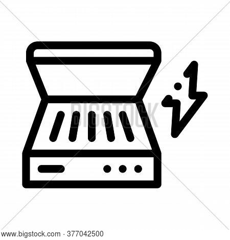Electrical Bbq Icon Vector. Electrical Bbq Sign. Isolated Contour Symbol Illustration
