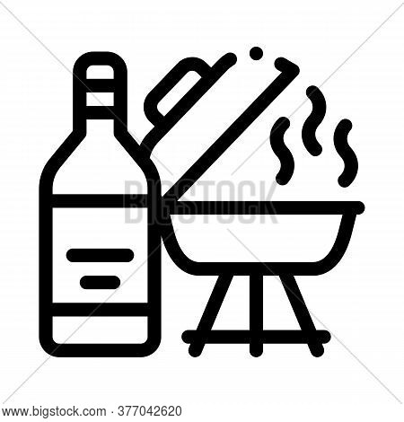 Flame Liquid For Bbq Icon Vector. Flame Liquid For Bbq Sign. Isolated Contour Symbol Illustration