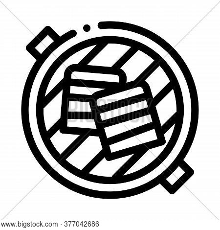 Cooking Bbq Bacon Icon Vector. Cooking Bbq Bacon Sign. Isolated Contour Symbol Illustration