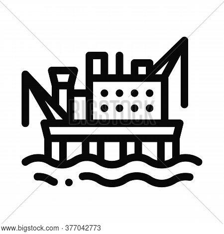 Crane On Sea Station Icon Vector. Crane On Sea Station Sign. Isolated Contour Symbol Illustration