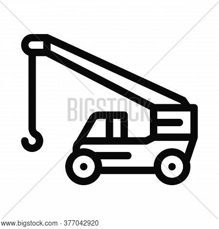 Machinery Crane Icon Vector. Machinery Crane Sign. Isolated Contour Symbol Illustration