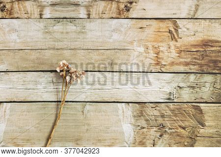 View Of Brown Wooden Background With Copy Space With Ornaments