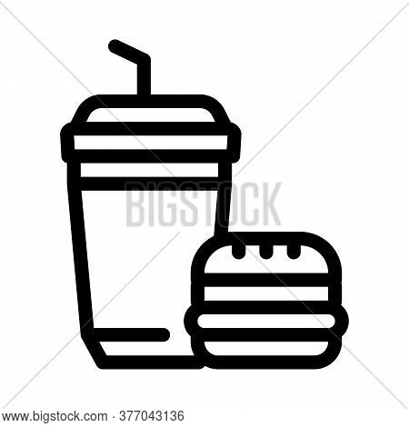 Food Burger And Drink Cup Icon Vector. Food Burger And Drink Cup Sign. Isolated Contour Symbol Illus
