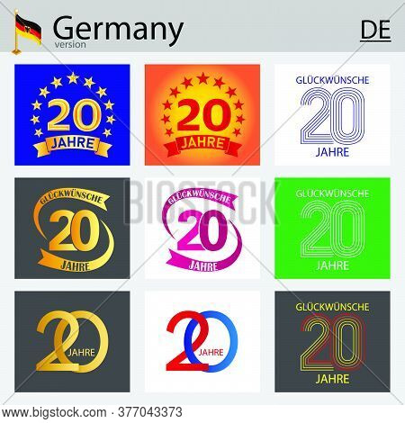 German Set Of Number Twenty Years (20 Years) Celebration Design. Anniversary Vector Number Template