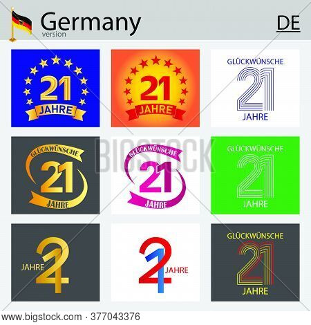 German Set Of Number Twenty-one Years (21 Years) Celebration Design. Anniversary Vector Number Templ