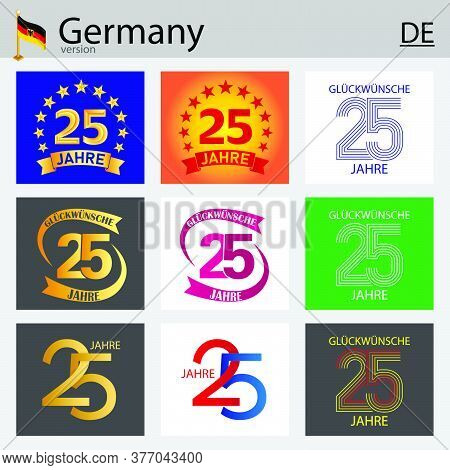 German Set Of Number Twenty-five Years (25 Years) Celebration Design. Anniversary Vector Number Temp