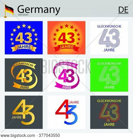 German Set Of Number Forty-three Years (43 Years) Celebration Design. Anniversary Vector Number Temp