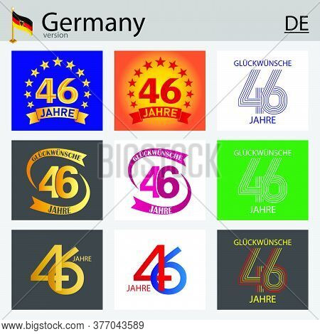 German Set Of Number Forty-six Years (46 Years) Celebration Design. Anniversary Vector Number Templa