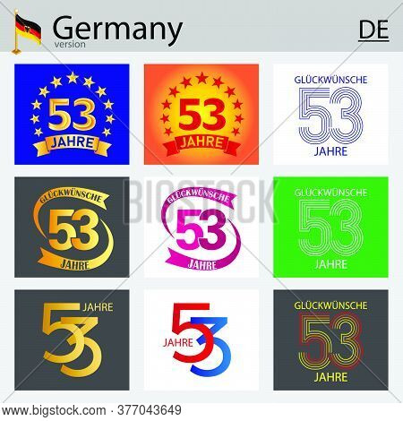 German Set Of Number Fifty-three Years (53 Years) Celebration Design. Anniversary Vector Number Temp