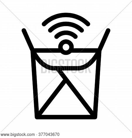 Food Box Wifi Mark Icon Vector. Food Box Wifi Mark Sign. Isolated Contour Symbol Illustration