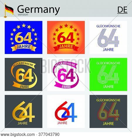 German Set Of Number Sixty-four Years (64 Years) Celebration Design. Anniversary Vector Number Templ