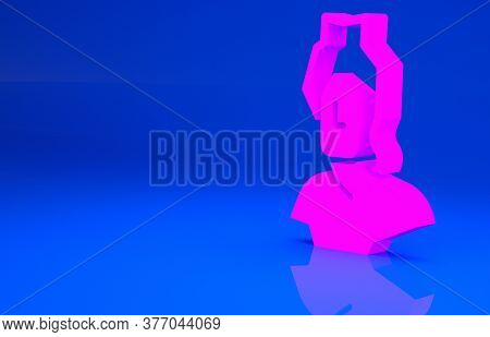 Pink Ancient Bust Sculpture Icon Isolated On Blue Background. Minimalism Concept. 3d Illustration. 3