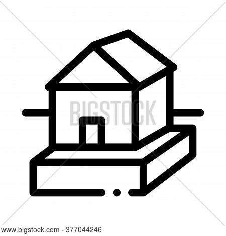 House On Foundation Icon Vector. House On Foundation Sign. Isolated Contour Symbol Illustration
