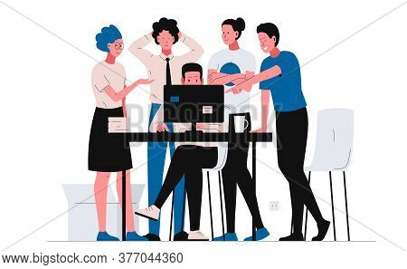 Teamwork Office Concept Illustration. Group Of People In The Office Gathered Near The Table, Looking