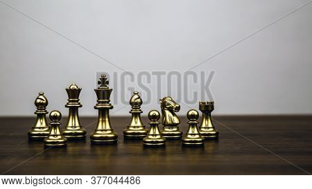 Golden Chess Team Standing Concept Of Business Strategic Plan And Professional Teamwork And Risk Man