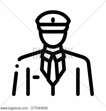 Pilot Profession Icon Vector. Pilot Profession Sign. Isolated Contour Symbol Illustration