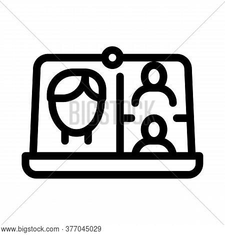 Video Conference Icon Vector. Video Conference Sign. Isolated Contour Symbol Illustration
