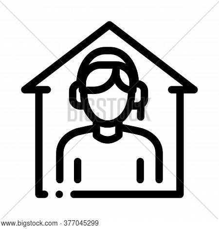 Home Call Assistance Icon Vector. Home Call Assistance Sign. Isolated Contour Symbol Illustration