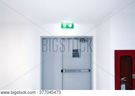 Emergency Exit Sign And Exit Gate Or Fire Exits In The Building Ideas For Evacuation Drills In The E