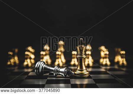 Golden Chess Team Standing On Chess Board Concept Of Business Strategic Plan And Professional Teamwo