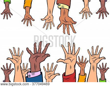 Many Hands Reach Out To Each Other. Comics Caricature Pop Art Retro Illustration Drawing