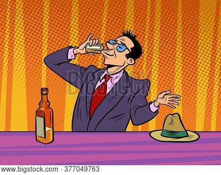 Man Drinking Strong Alcohol In A Bar, Alcoholism. Comics Caricature Pop Art Retro Illustration Hand