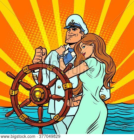 Ship Captain In A White Uniform With A Beautiful Woman. Comics Caricature Pop Art Retro Illustration