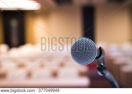 Microphone For Speaker Of Speech Or Speaking At Seminar Conference Room, Talking For Lecture To Audi