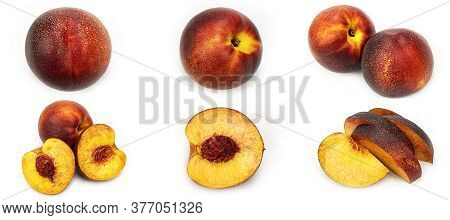 Nectarine And Pieces Of Nectarine On A White Background From Different Sides. Nectarine Set. Macro P