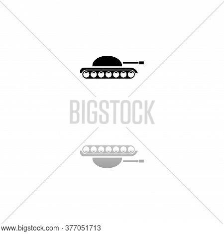 Tank Army. Black Symbol On White Background. Simple Illustration. Flat Vector Icon. Mirror Reflectio
